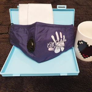 3 Layers face mask blue with filters insert pouch